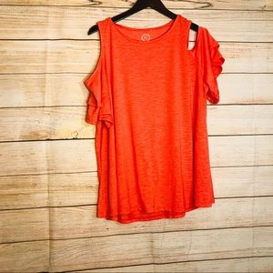24/7 MAURICES ruffle cold shoulder sleeve top sz 2